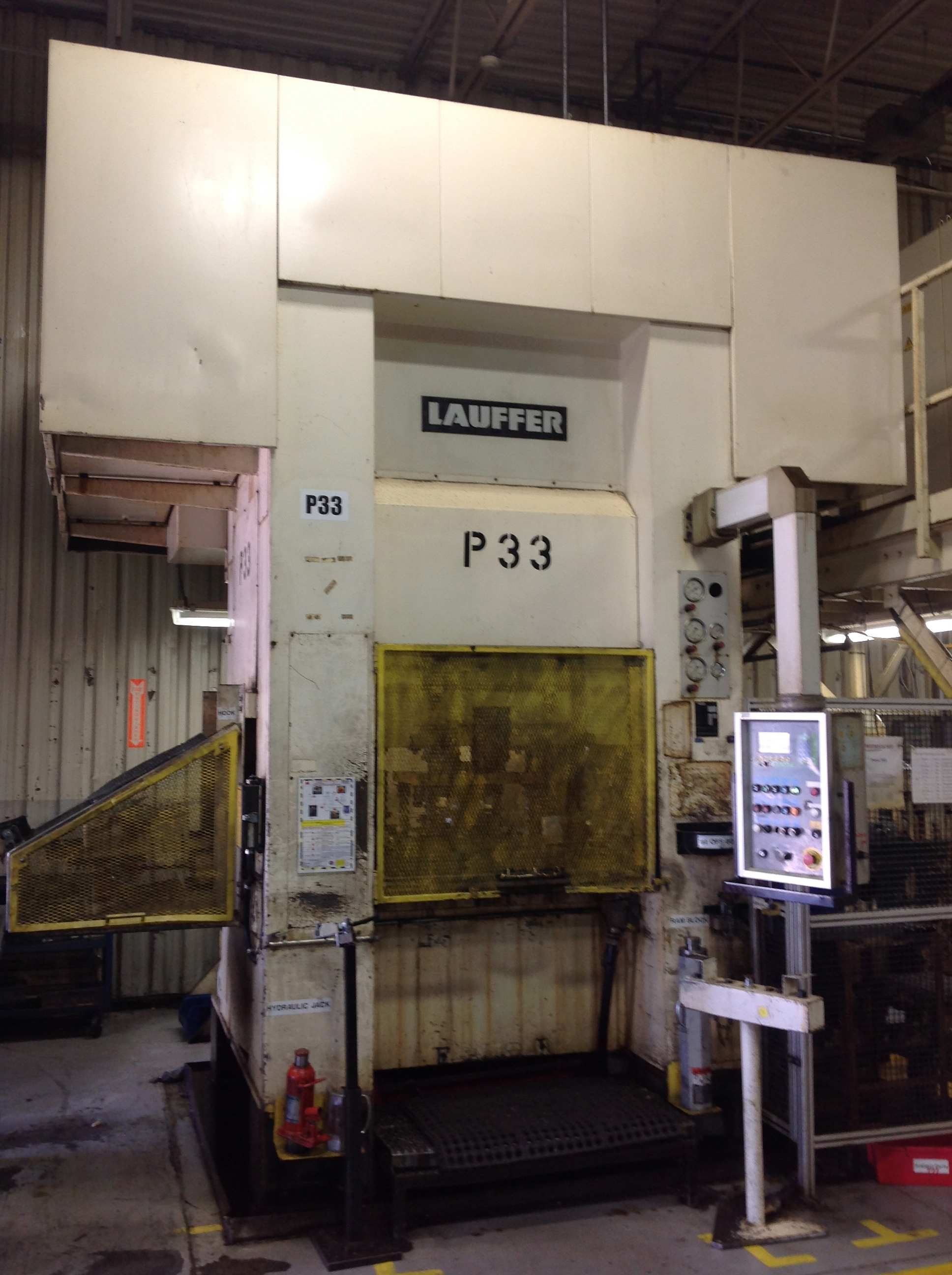 "320 TON LAUFFER HYDRAULIC STRAIGHT SIDE PRESS, MODEL RPN 320, 14.5"" STR, 24.8"" DLO, 39"" X 31"" BA, 1993"