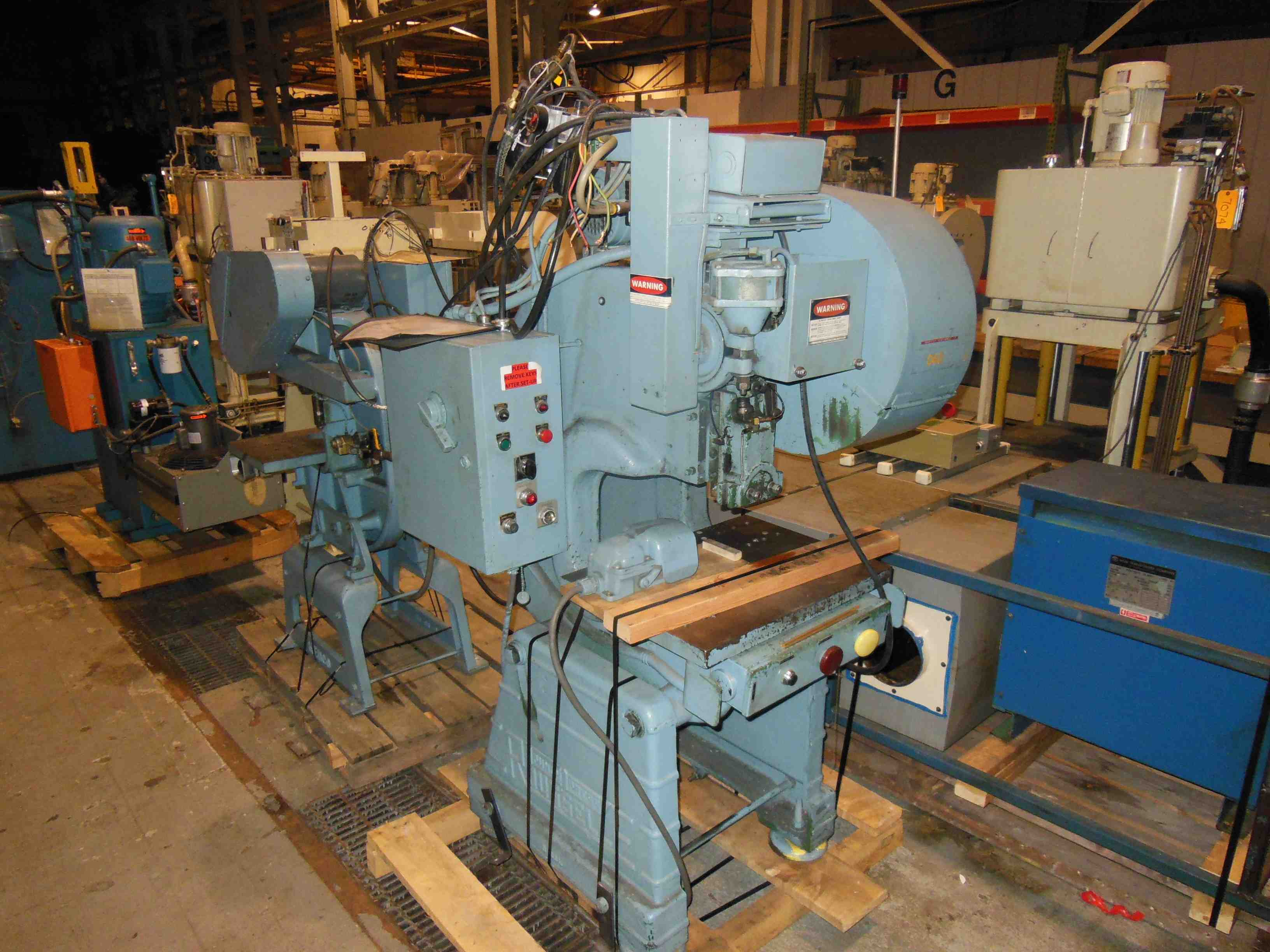 "15 TON ROUSSELLE OBI HIGH SPEED PUNCH PRESS, MODEL 2F, 2"" STR, 8"" SH, 1.5"" ADJ, 24"" LR X 18"" FB BA, 170 SPM, 1973"