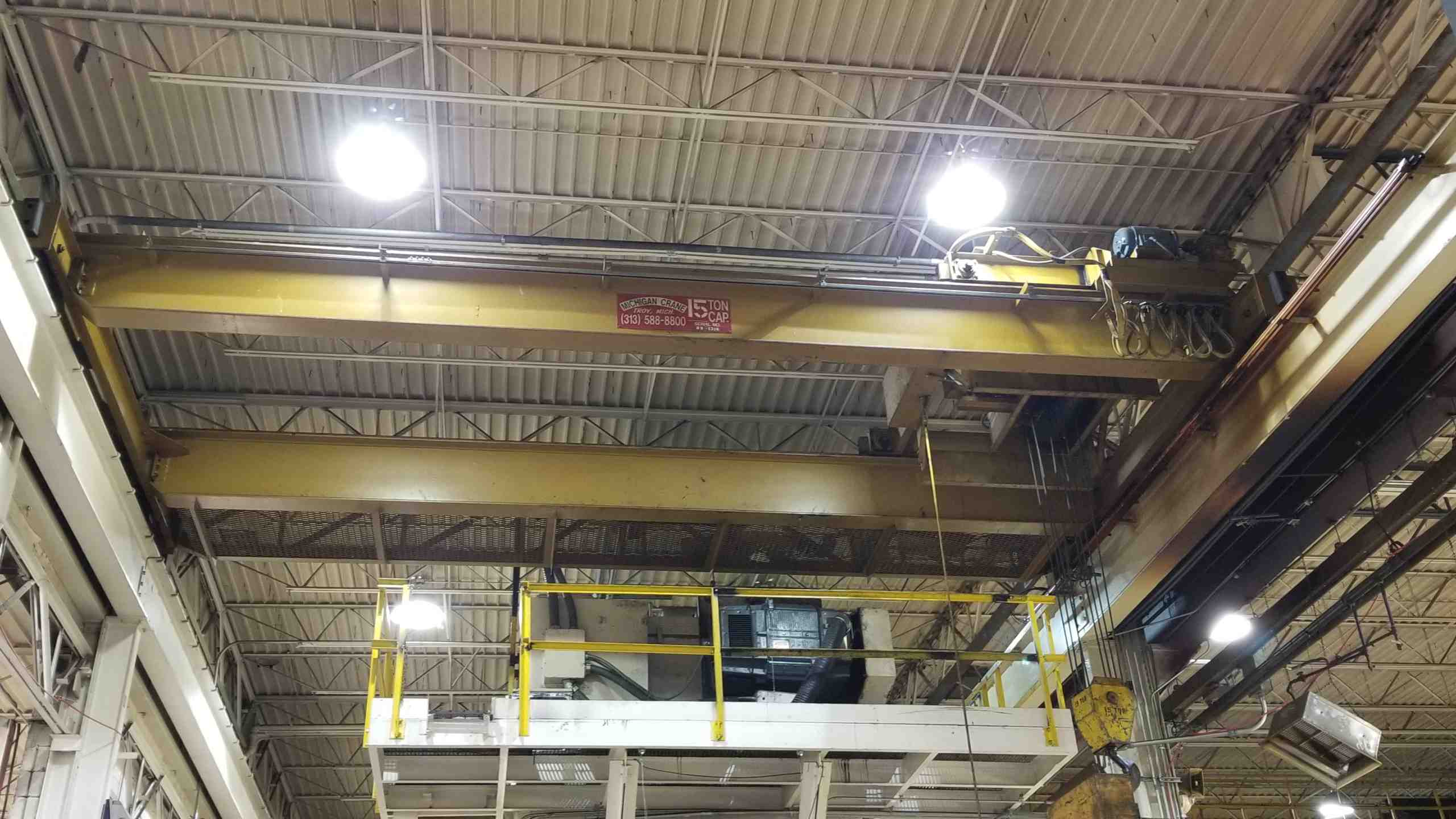 15 TON 27′ SPAN MICHIGAN CRANE, MODEL TRDG, 24′ LIFT, 1989