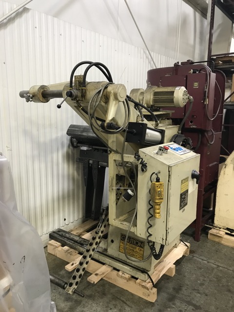 "8,000 LBS X 18"" WIDE COOPER WEYMOUTH PETERSON REEL, MODEL 4RM-18, SINGLE MANDREL, HOLD DOWN ARM"