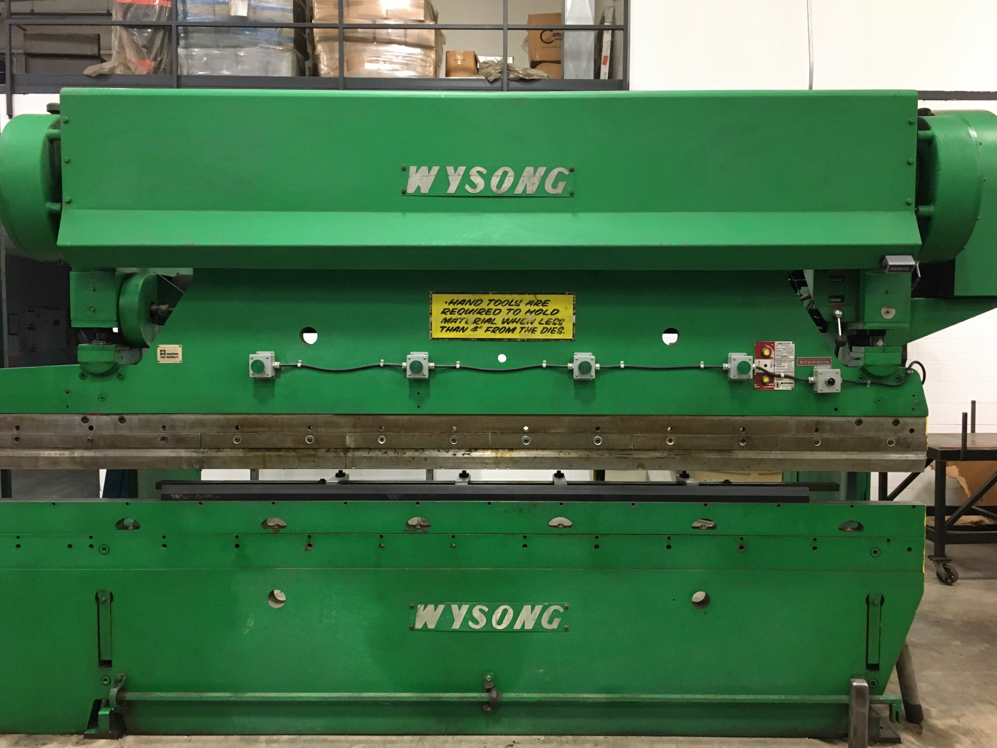 "110 TON X 10′ WYSONG MECHANICAL PRESS BRAKE, MODEL 110-10, 3"" STR, 5"" ADJ, 12"" SHUT HEIGHT, 1974"