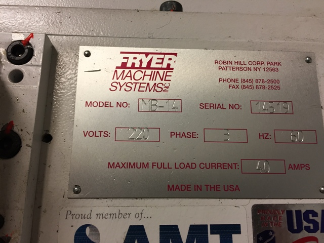"Fryer MB 14Q Mill (2014) travels- 40""x20""x20"", Table-16""x54"",10 HP, Cat#40, Quill dia. 4.125"", Quill Travel 6.0"", Siemens Control, Power Draw Bar, Steel Way Covers, Tool & Part Probe System, Rigid Tap"