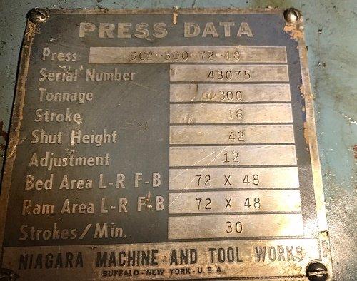 "300 Ton NIAGARA SC2-300-72-48, 16"" Stroke, 42"" SH, 30 SPM, Widnows, FLR STD"