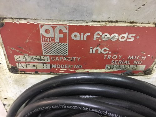"24"" AIR FEEDS INC, No. AF-5 24 Air Feed Straightener"
