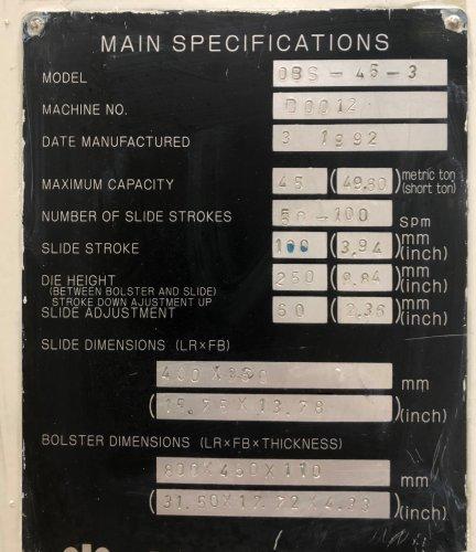 45 Ton KOMATSU OBS-45-3, New 1992