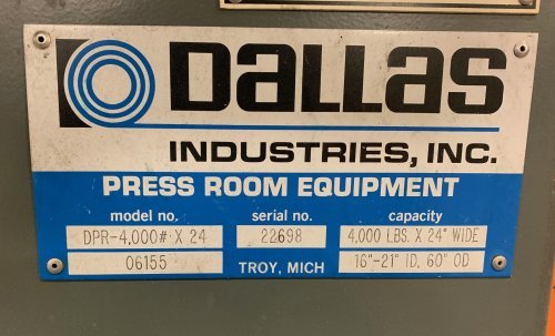 4000 Lbs. DALLAS No. DPR-4000-24 Coil Reel