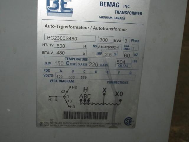 Bemag 300KVA, 600/480 Auto Transformer Cat #BC2300S480