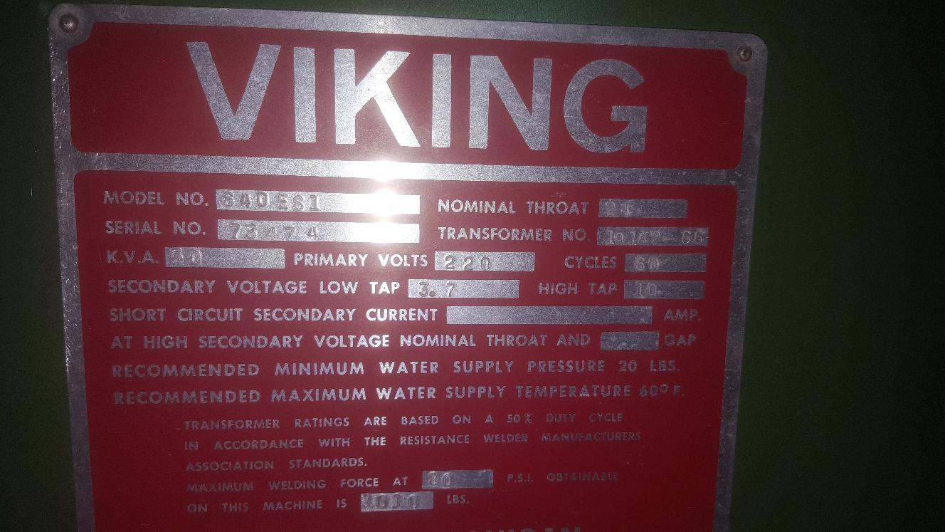1 - PREOWNED VIKING SPOT WELDER, (PRESS TYPE), <br>MODEL #: 640ES1, S/N: 73474