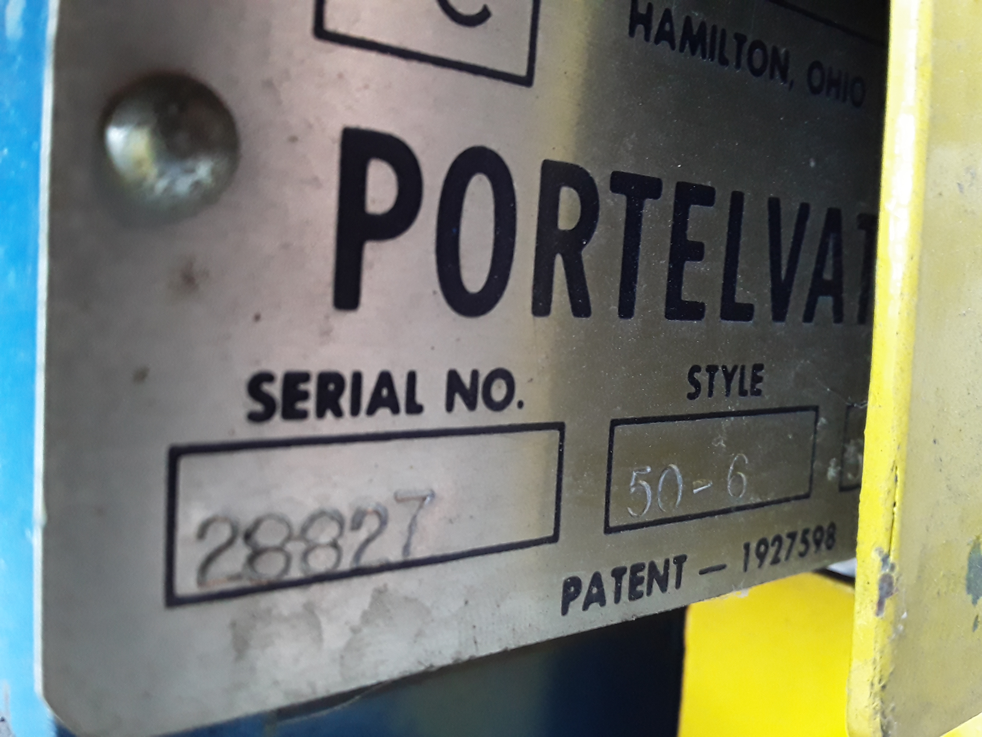(1) PREOWNED PORTELEVATOR PORTABLE PRESS DIE HOIST TABLE, <br>MODEL 50-6, S/N 28827