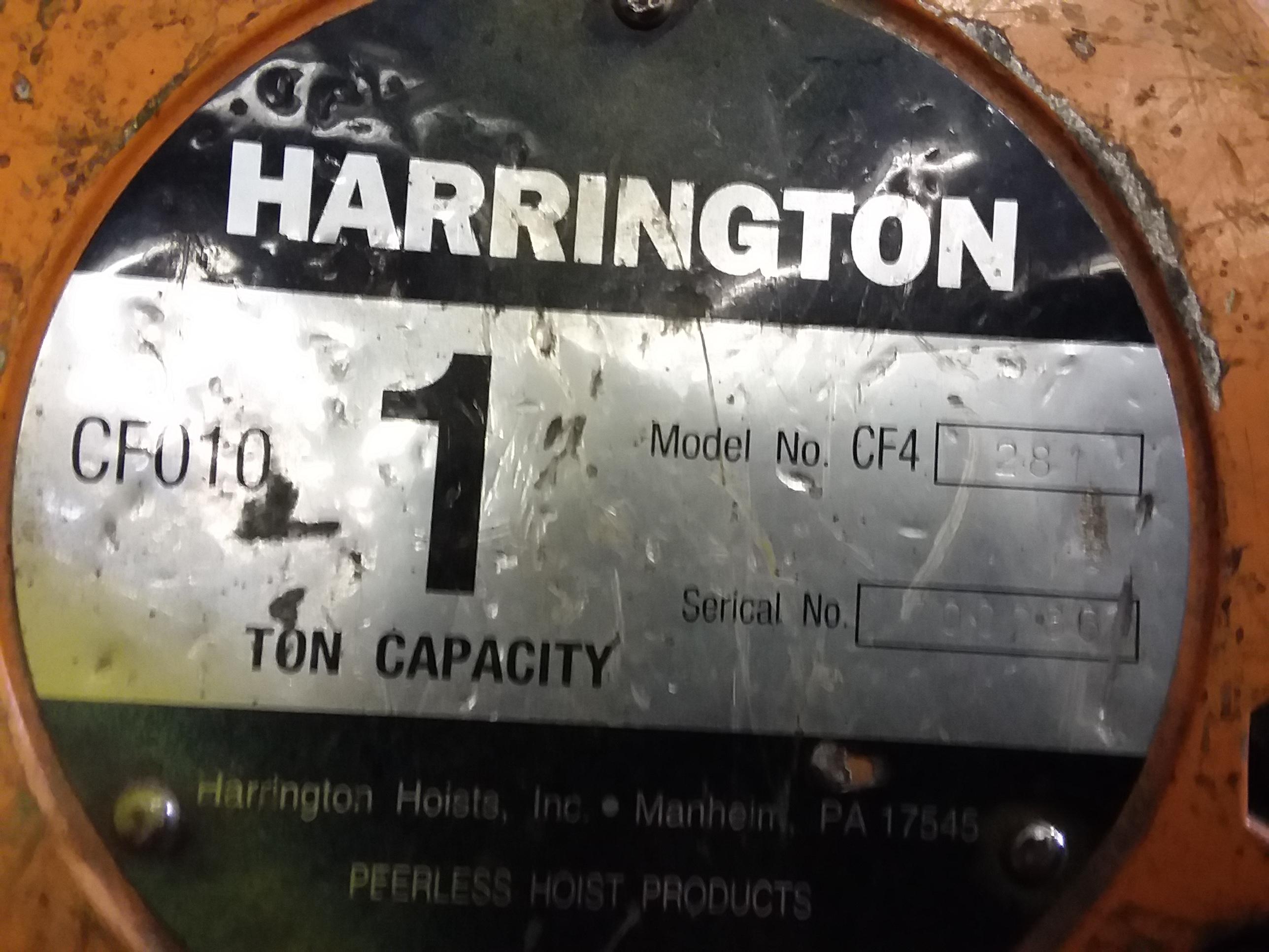 (1) PREOWNED HARRINGTON 1 TON CHAIN HOIST, MODEL CF4-281,<br>S/N 700286