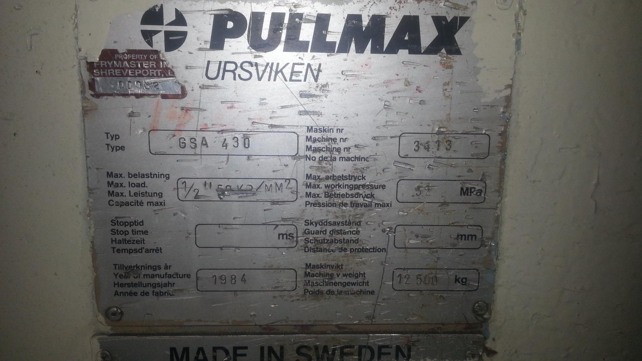 1 - PREOWNED PULLMAX HYDRAULIC SHEAR, 10 ft X 1/2 in , <br>MODEL #: GSA 430, S/N: 3413, YEAR: 1984
