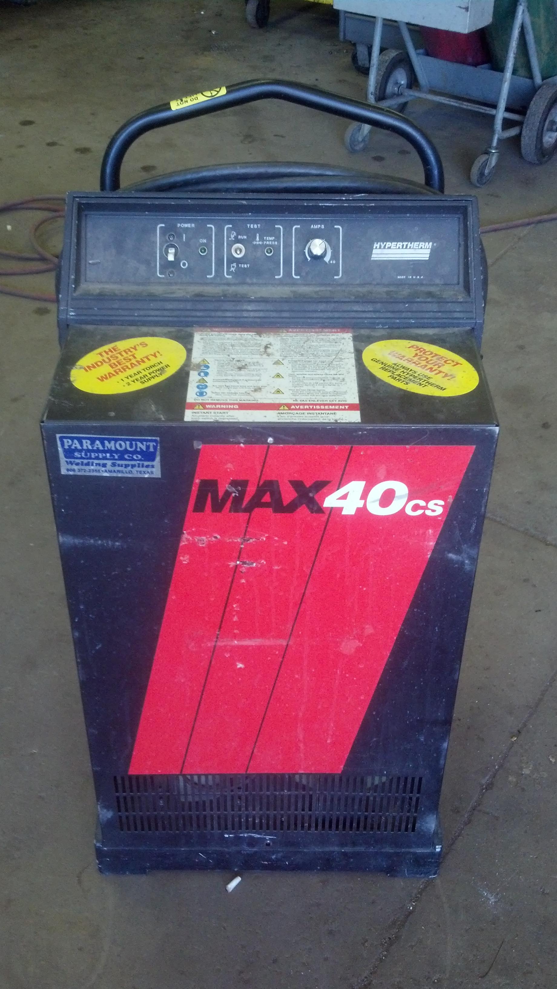 (1) PREOWNED HYPERTHERM PLASMA CUTTING SYSTEM - MODEL MAX40CS