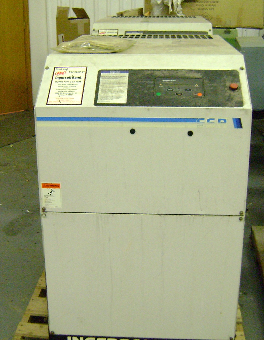 1 - PREOWNED INGERSOLL-RAND AIR COMPRESSOR, MODEL #: SSR-<br>EP25SE, S/N: KE1047U95123