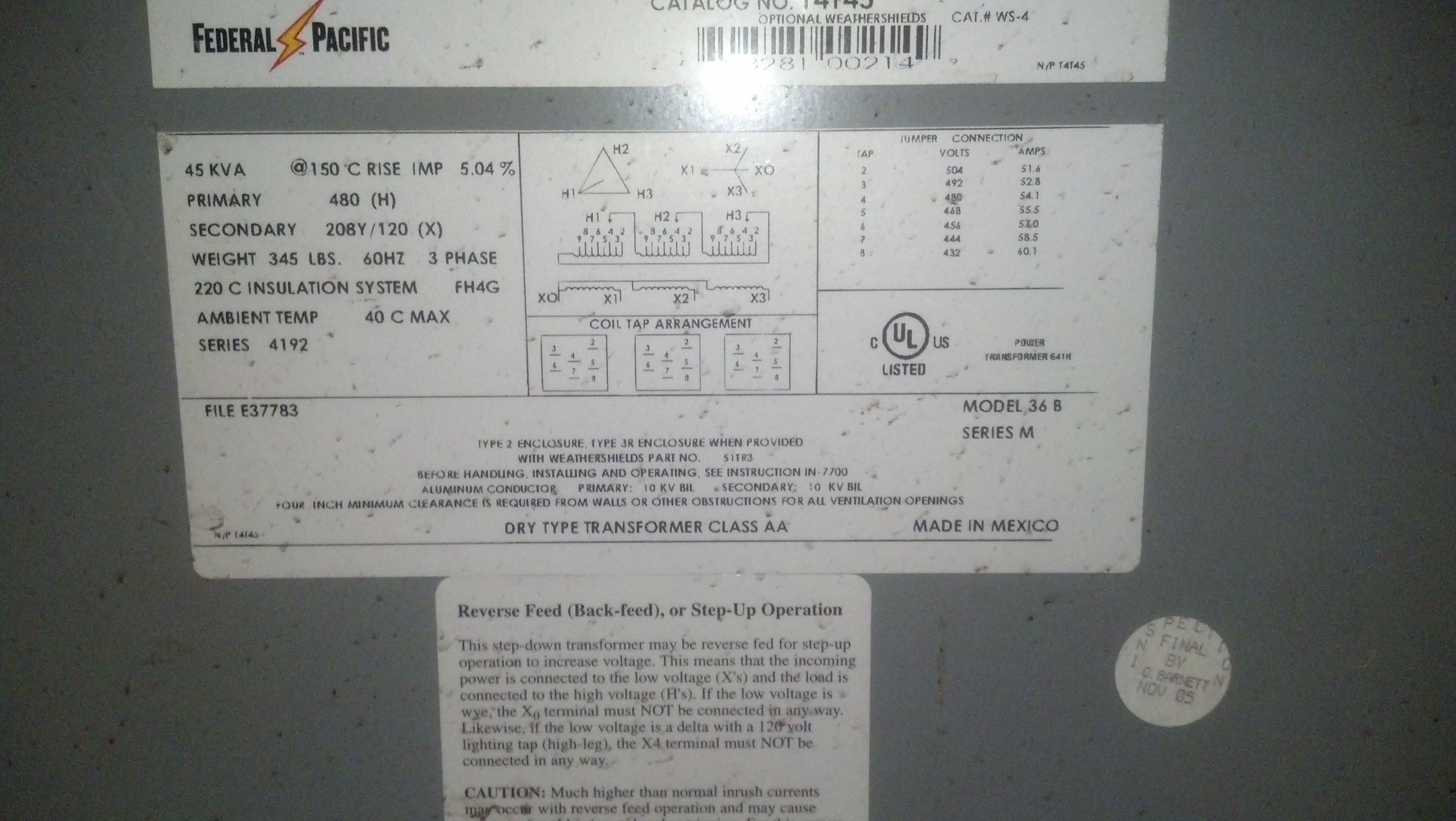 (1) PREOWNED FEDERAL PACIFIC TRANSFORMER,MODEL 45 KVA
