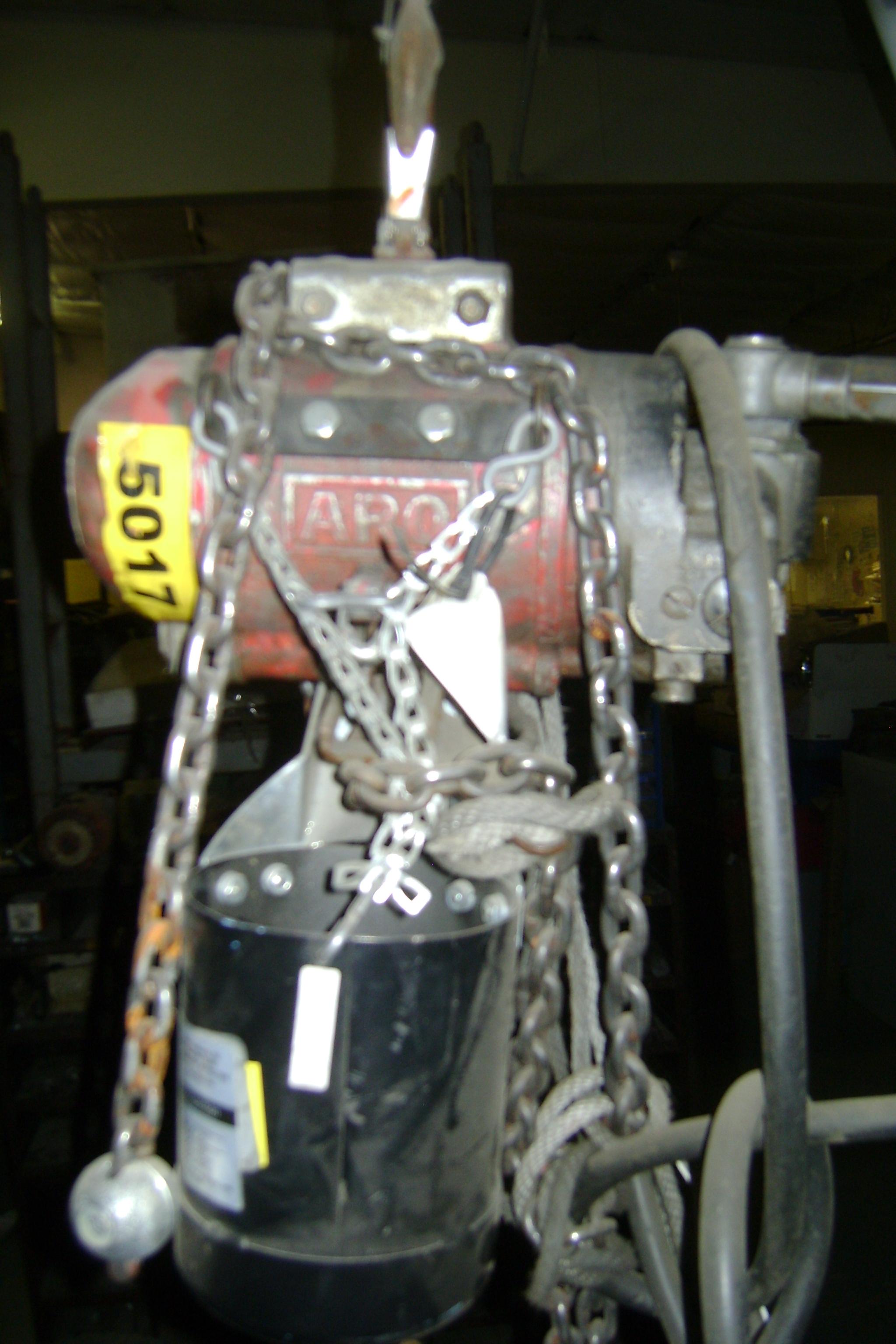 (1) PREOWNED ARO 7750D AIR CHAIN HOIST 1/2-TON, 90 PSI
