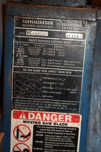 (1) PREOWNED TRENNJAEGER HEAVY DUTY INDUSTRIAL STEEL CUT OFF <br>SAW, MODEL #: VC400HA, S/N: GF113