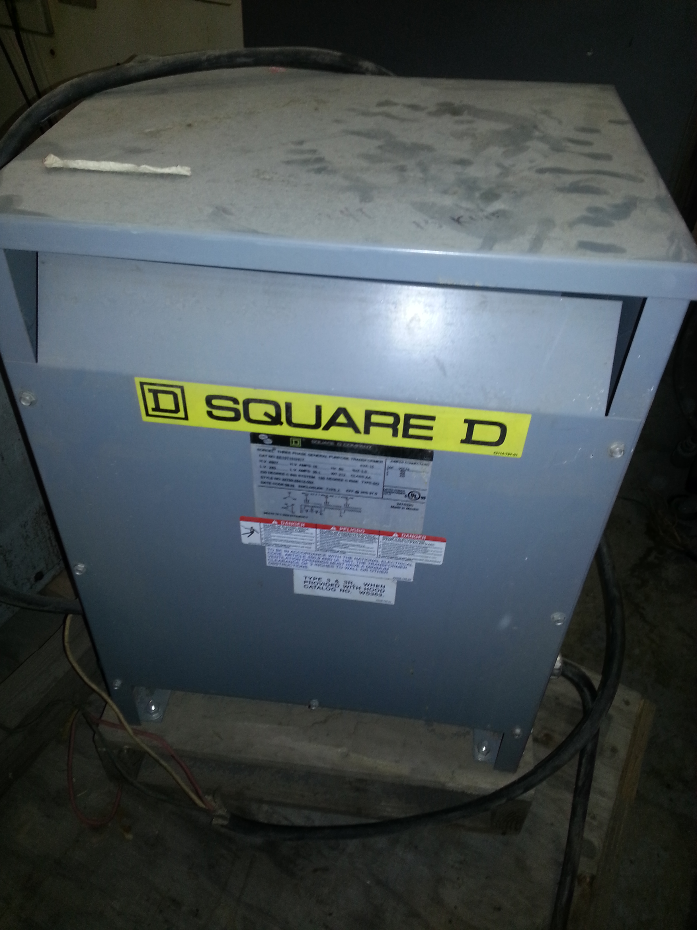 (1) PREOWNED SQUARE D COMPANY, SORGEL THREE PHASE GENERAL <br>PURPOSE TRANSFORMER, 15 KVA, MODEL EE15T151HCT