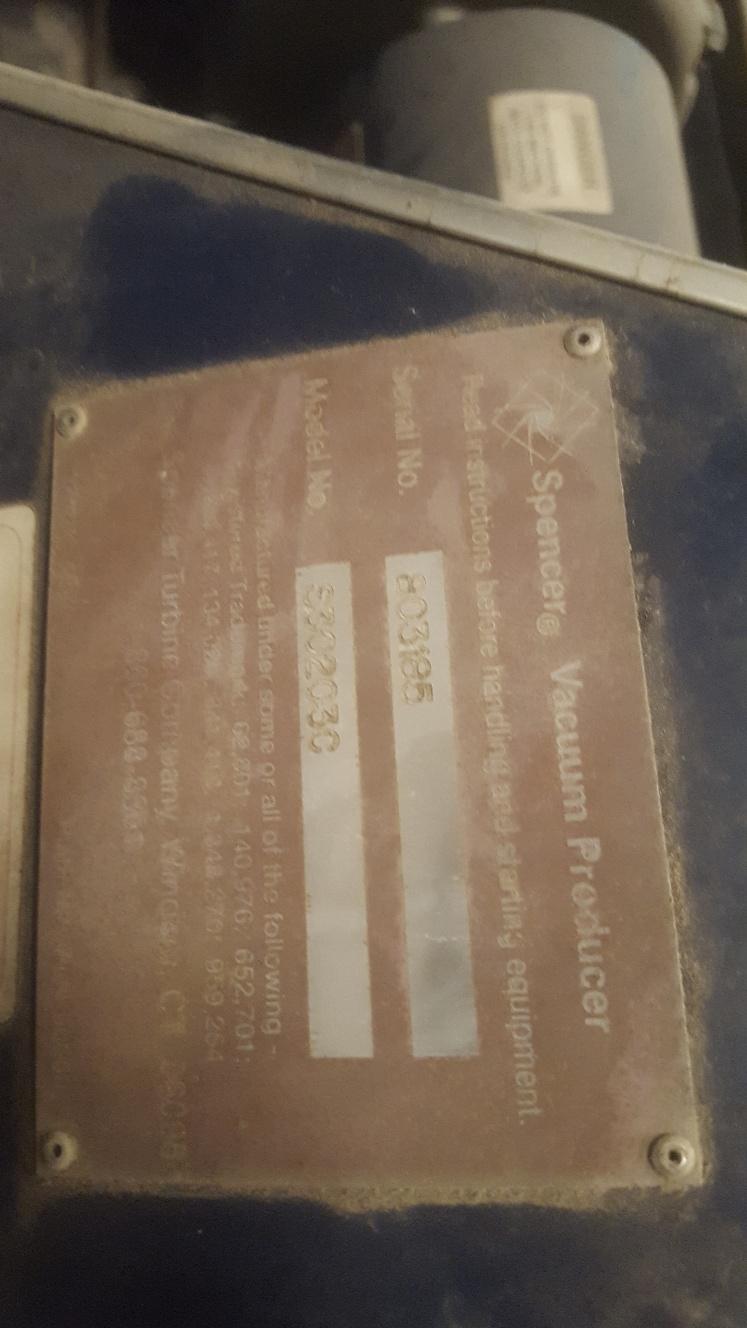 (1) PREOWNED SPENCER VACUUM, MODEL S30203C, SN 803185