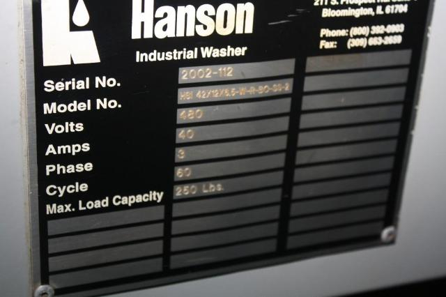 (1) PREOWNED R.G. HANSON PARTS WASHER, <br>MODEL #: 42x12x6.5 W-H-BO-2, S/N: 2002-112
