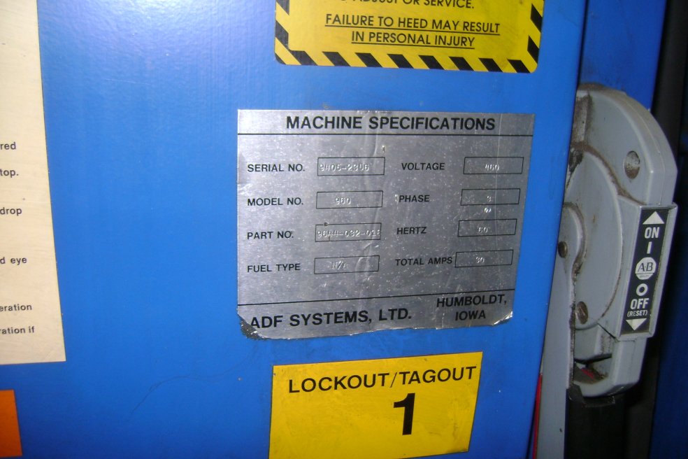 (1) PREOWNED 1994 ADF SYSTEMS PARTS WASHER, MODEL 960, S/N <br>9405-2356