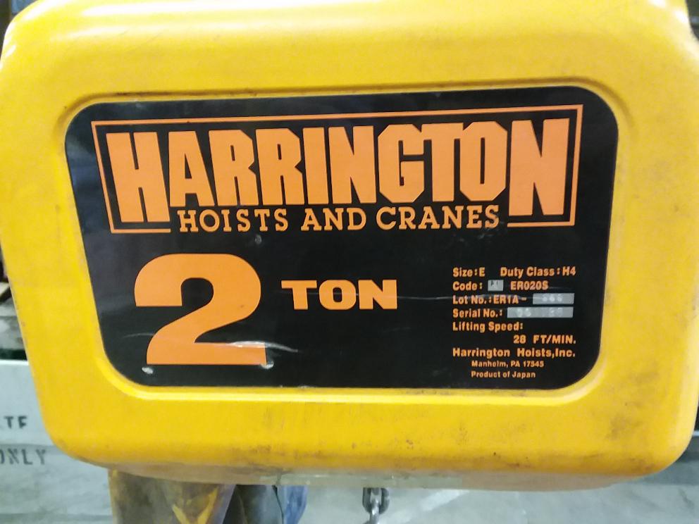 (1) PREOWNED HARRINGTON 2 TON ELECTRIC CHAIN HOIST, MODEL <br>NER020S, S/N 001729
