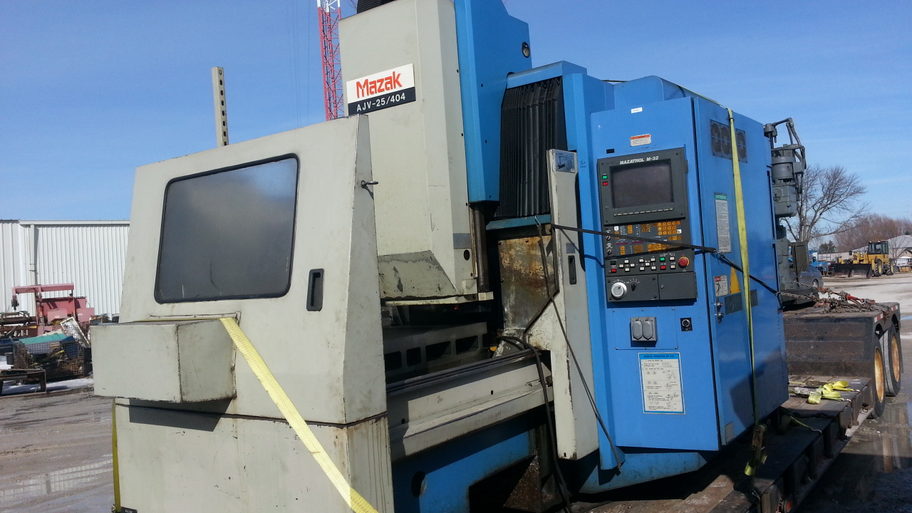 1 - PREOWNED MAZAK BRIDGE TYPE VERTICAL MACHINING CENTER, <br>MODEL #: AJV-25/404, S/N: 76998, YEAR: 1988