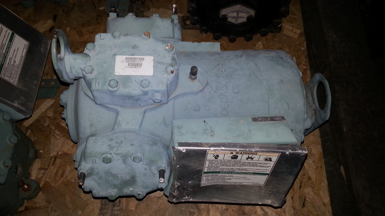 1 - PREOWNED CARLYLE SEMI-HERMETRIC RECIPROCATING <br>COMPRESSOR, MODEL #: 06DR337, S/N: 2102J01574