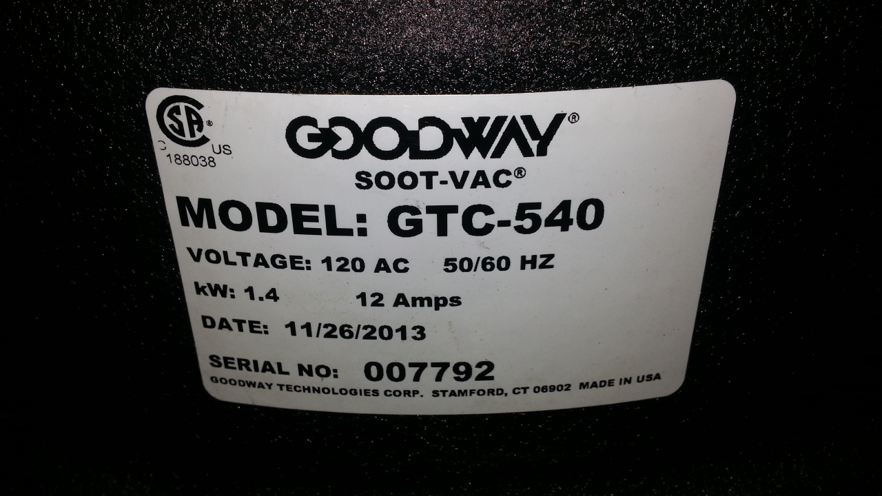 (1) PREOWNED GOODWAY SOOT-VAC, MODEL GTC-540, S/N 007792, <br>YEAR 2013