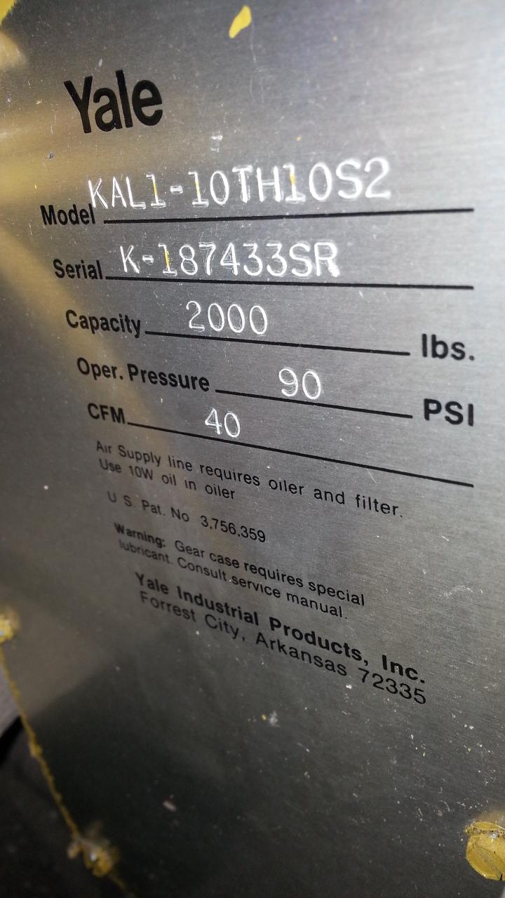 (1) PREOWNED YALE AIR CHAIN HOIST, MODEL KAL1-10TH10S2, S/N <br>K-187433SR