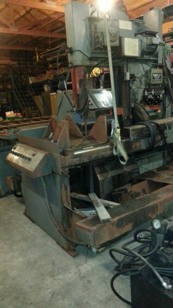 (1) PREOWNED HEMSAW VERTICAL BAND SAW, MODEL #: V150A SS, <br>S/N: 408294, YEAR: 1994