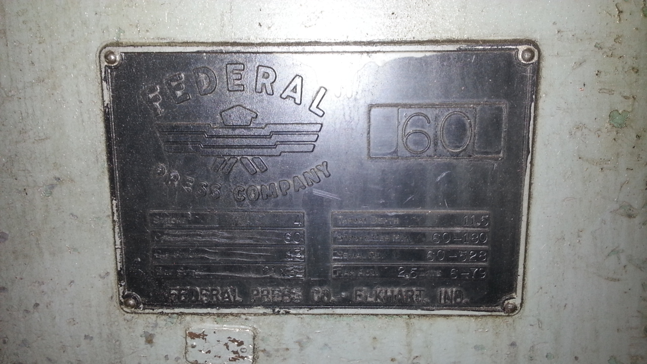 1 - PREOWNED FEDERAL OBI PRESS, MODEL #: 60, S/N: 60-528,<br>YEAR: 1979