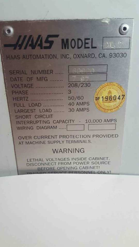(1) PREOWNED HAAS CNC LATHE, MODEL #: HL-2, S/N: 60920,<br>YEAR: 1997