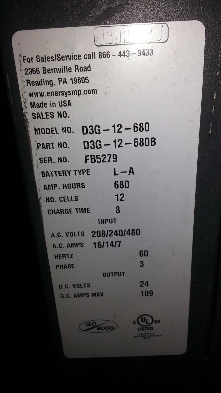 (1) PREOWNED EXIDE IRONCLAD DEPTH FORKLIFT CHARGER, MODEL <br>D3G-12-680, S/N FB5279