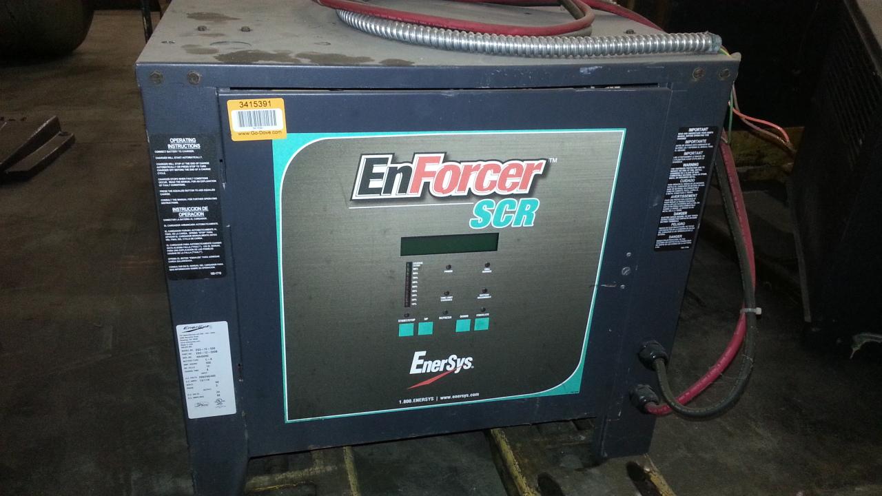 (1) PREOWNED ENERSYS ENFORCER SCR FORKLIFT BATTERY CHARGER, <br>MODEL ES3-12-550, S/N HJ55674