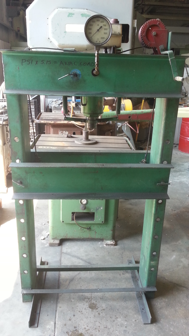 1 - PREOWNED 5 TON HYDRAULIC H-FRAME PRESS, HAND OPERATED