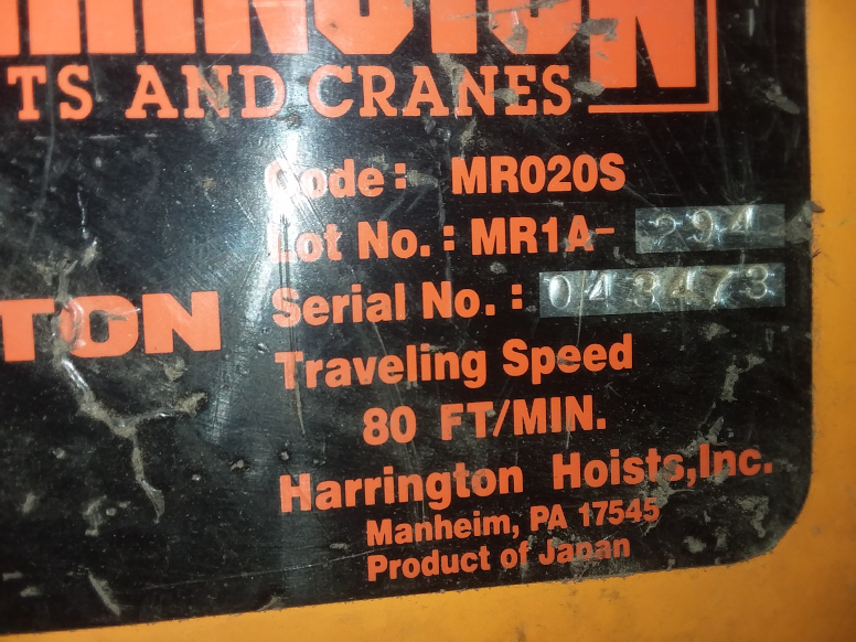 (1) PREOWNED HARRINGTON 2 TON ELECTRIC CHAIN HOIST, MODEL <br>NER020S, S/N 739878