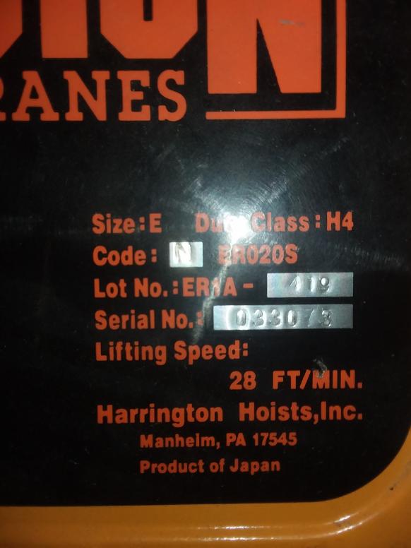 (1) PREOWNED HARRINGTON 2 TON ELECTRIC CHAIN HOIST, MODEL <br>NER020S, S/N 033073