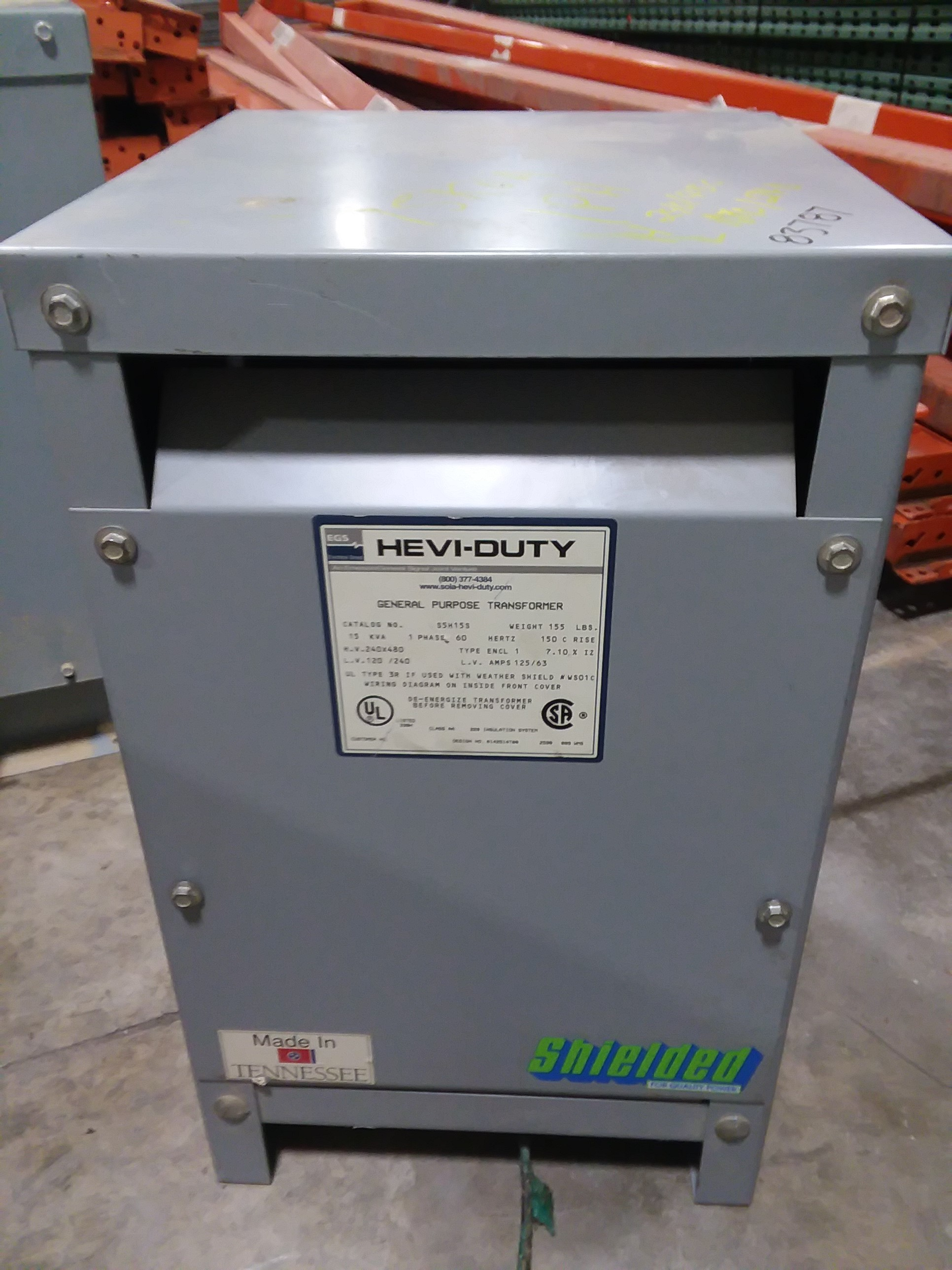 (1) PREOWNED EGS SINGLE PHASE STEP DOWN TRANSFORMER, 15 KVA