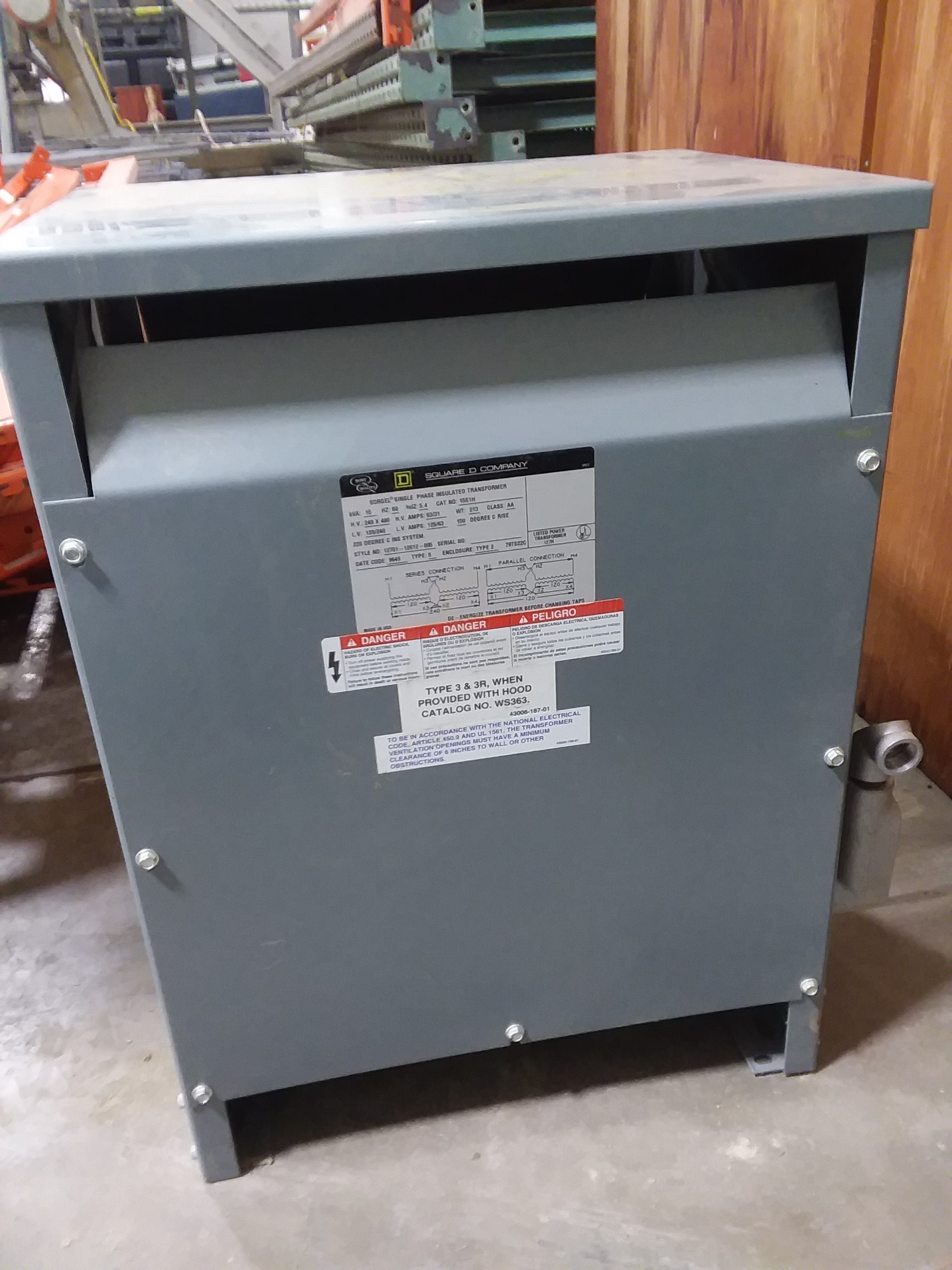 (1) PREOWNED SQUARE D SINGLE PHASE STEP DOWN TRANSFORMER, 15 <br>KVA