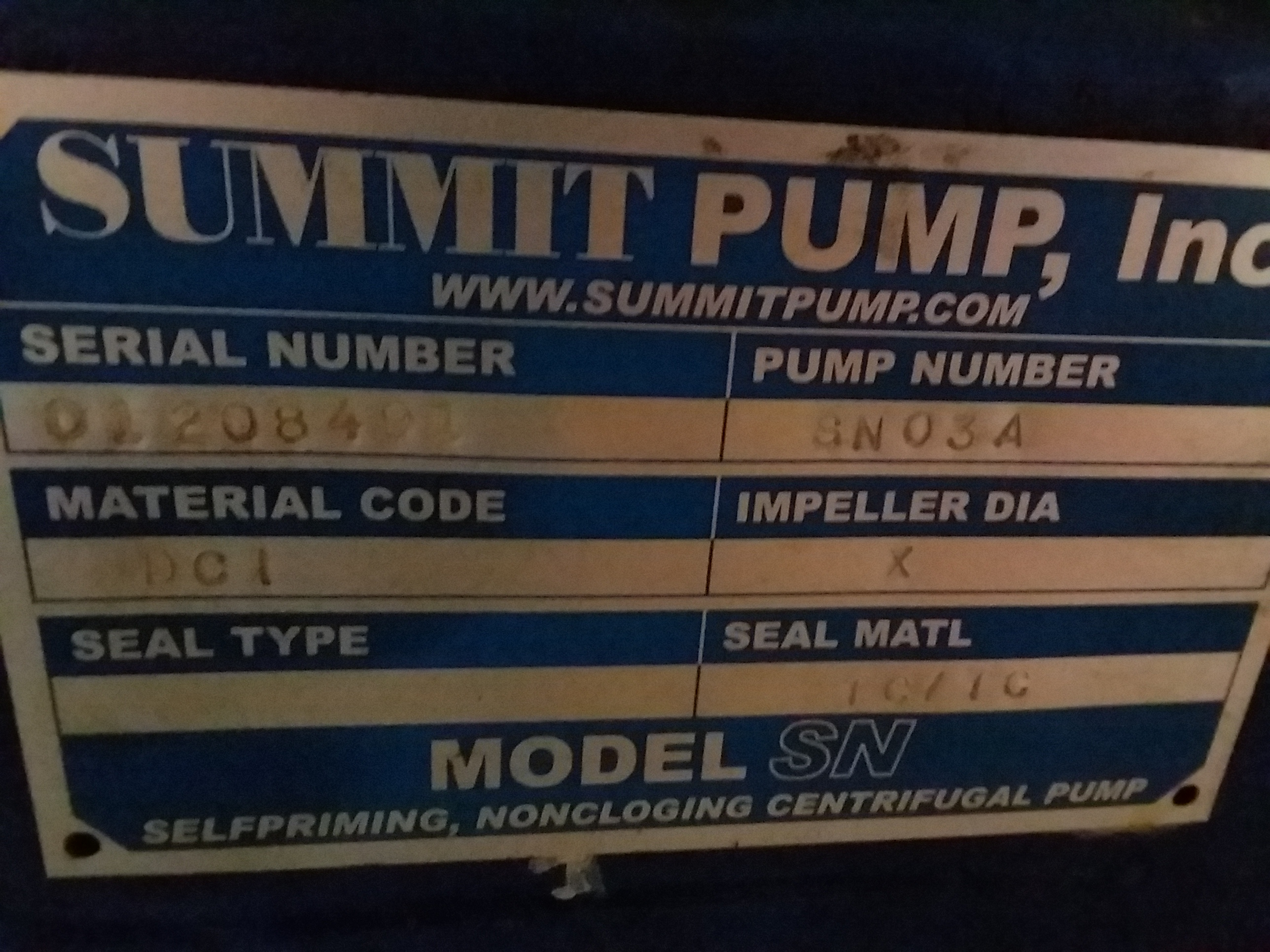 1 - PREOWNED SUMMIT SELF-PRIMING CENTRIFUGAL PUMP, <br>MODEL #:SN03A, S/N: 01208491