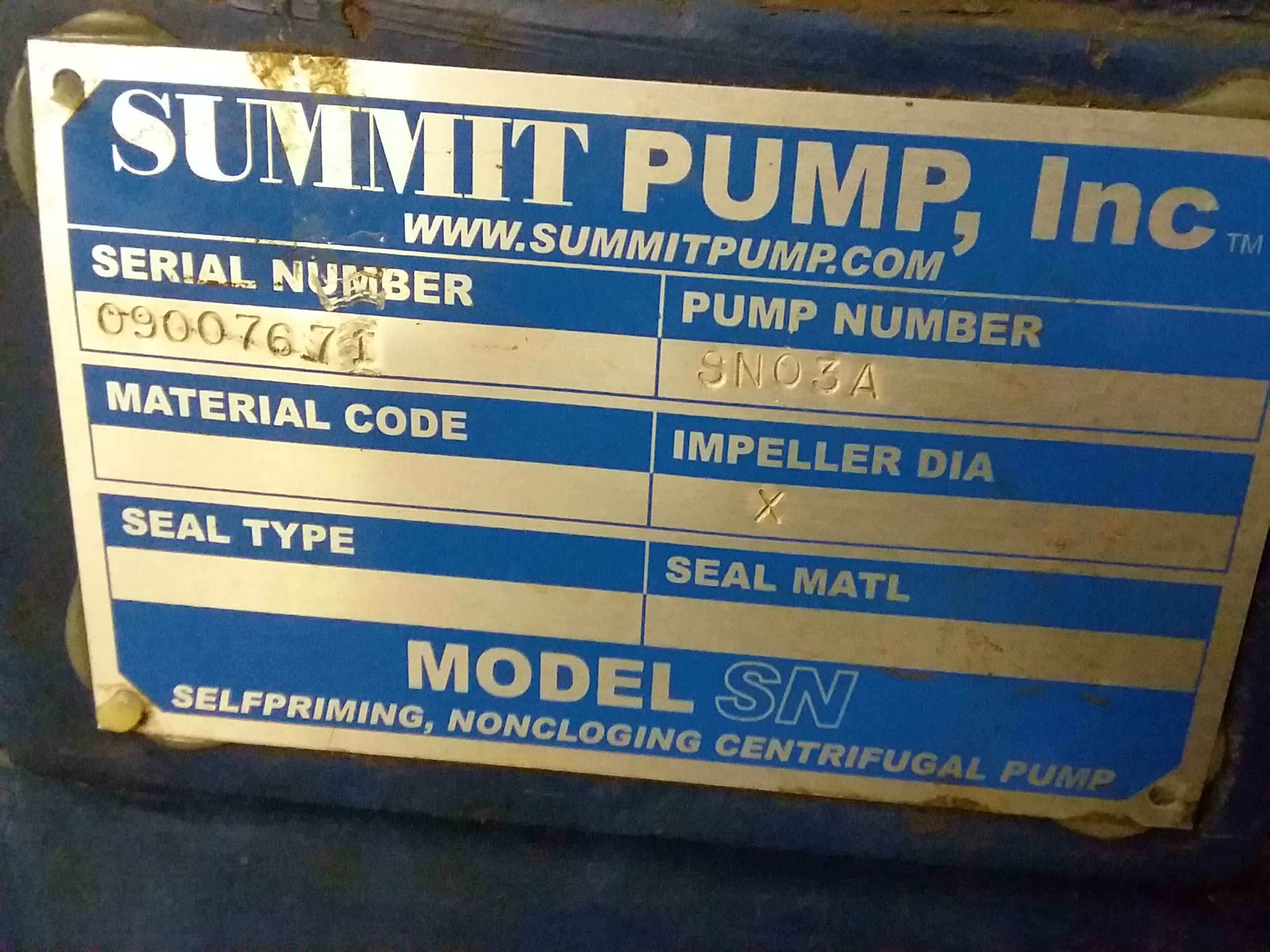 1 - PREOWNED SUMMIT SELF-PRIMING CENTRIFUGAL PUMP, <br>MODEL #: SN03A, S/N: 09007671
