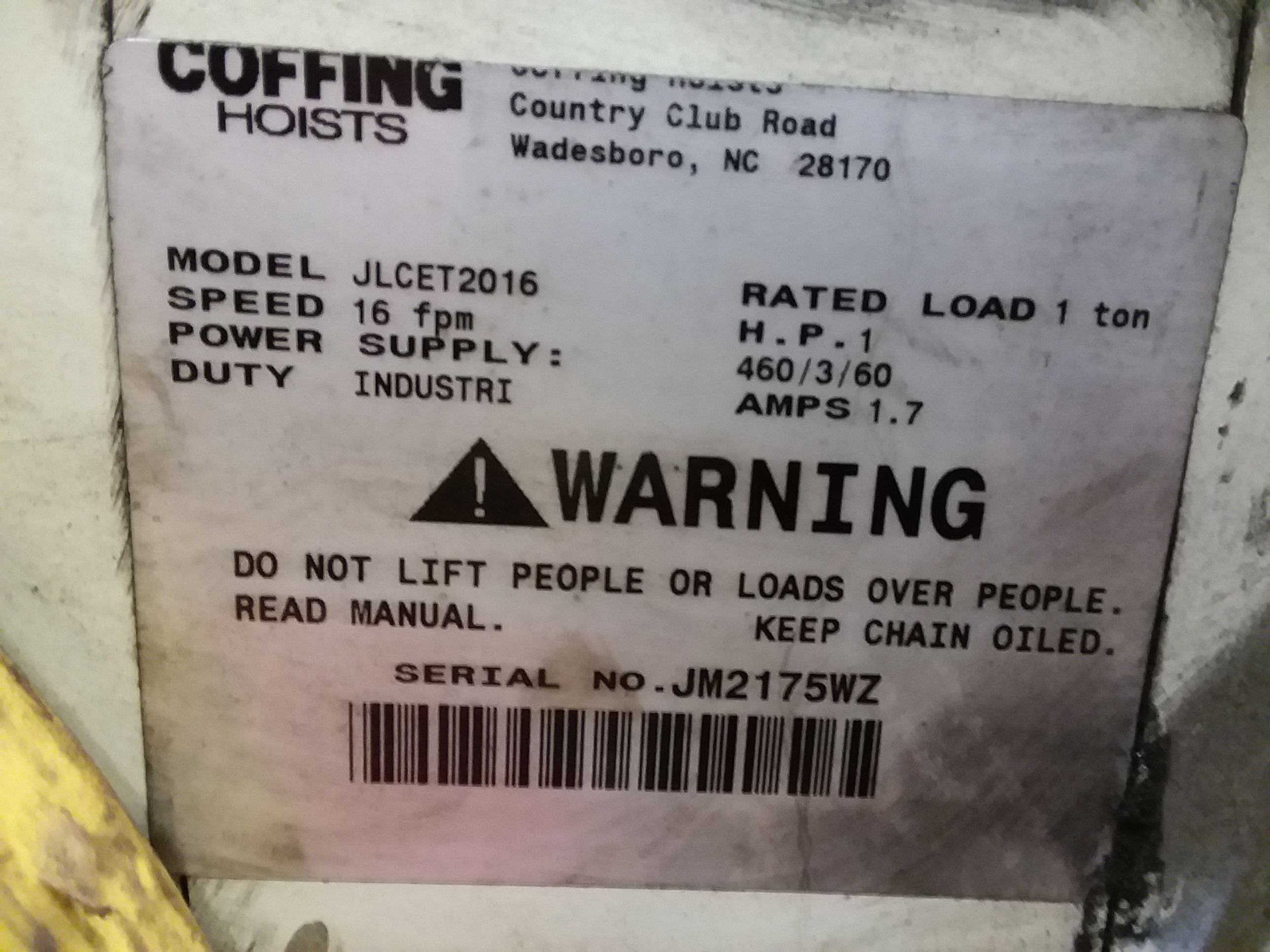 (1) PREOWNED COFFING ELECTRIC HOIST, MODEL JLCET2016
