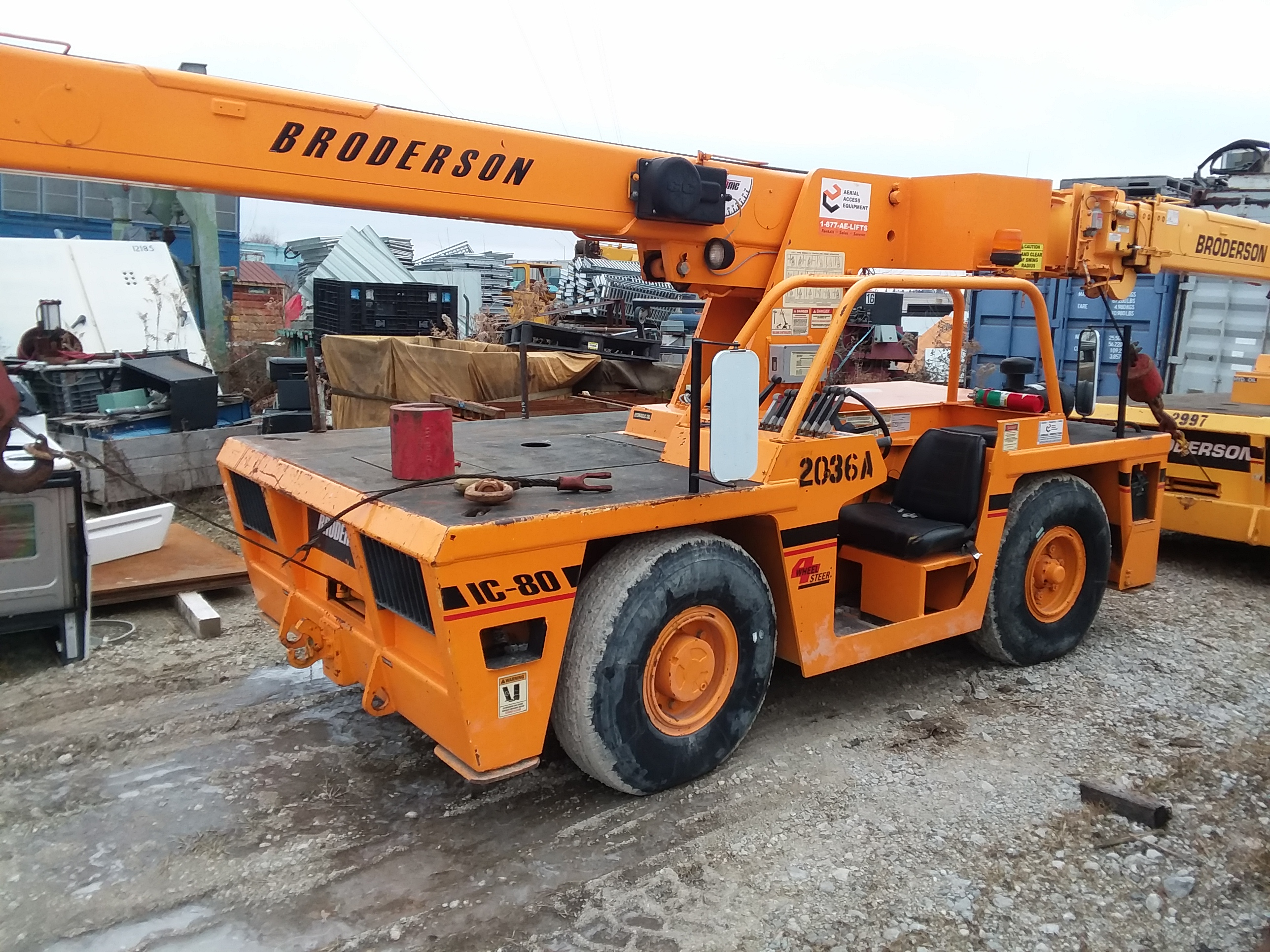 1 - PREOWNED BRODERSON CARRY DECK CRANE, MODEL #: IC-80-3G, <br>S/N: 552036, YEAR: 2006