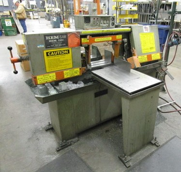 1 - PREOWNED HEMSAW SEMI-AUTOMATIC HORIZONTAL BAND SAW, MODEL #: H75A, S/N: 349991, YEAR: 1991