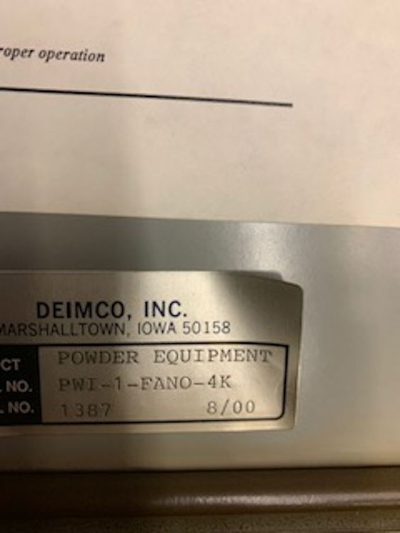 1 - PREOWNED DEIMCO PAINT BOOTH FILTER SYSTEM,<br>MODEL #: PWI-1-FANO-4K, S/N: 1387, YEAR: 2000