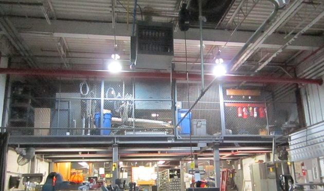6 - PREOWNED 30 ft X 10 ft MEZZANINE WITH STEEL GRATE FLOORING, <br>SUPPORT POLES, STAIRS, RAILS, I-BEAM