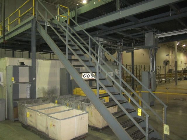 29 - PREOWNED 25 ft X 10 ft MEZZANINE WITH STEEL GRATE FLOORING, <br>STAIRS, RAILS, UNDERNEATH SPRINKLER SYSTEM PIPING & HEADS