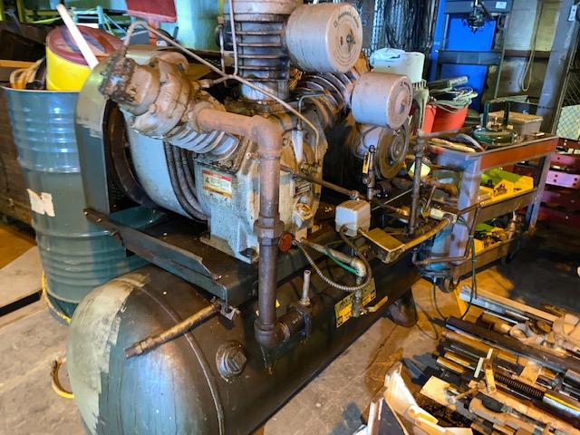1 - PREOWNED INGERSOLL RAND 15 HP PISTON TYPE AIR COMPRESSOR, 120 GALLON TANK