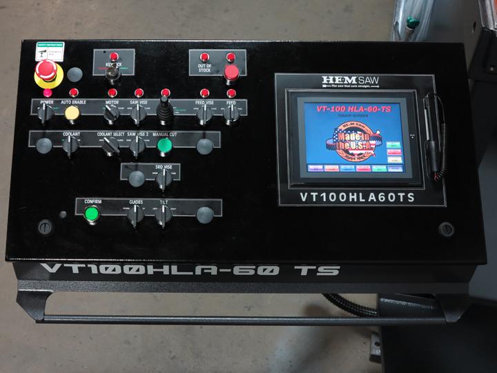 1 - NEW HEMSAW VERTICAL HYDRAULIC AUTOMATIC BANDSAW, MODEL #: VT100HLA-60-CTS