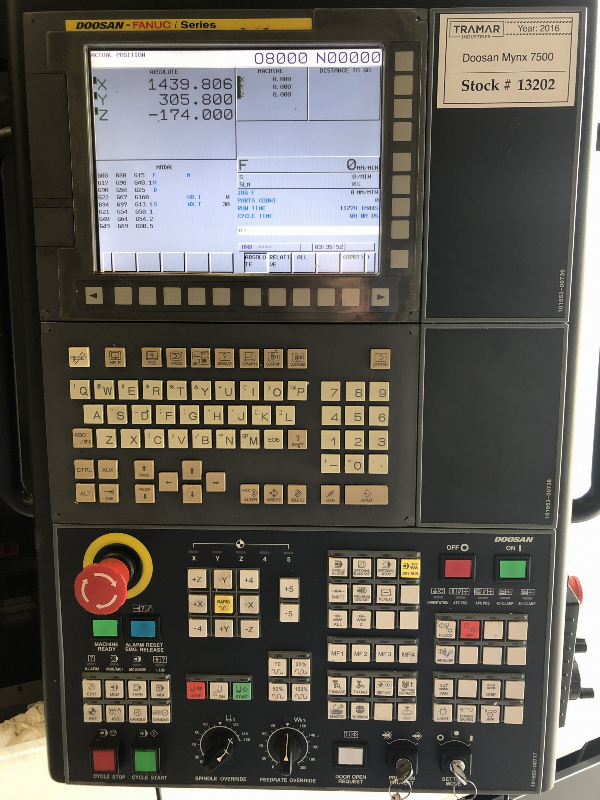 2016 Doosan Mynx 7500 - Vertical Machining Center